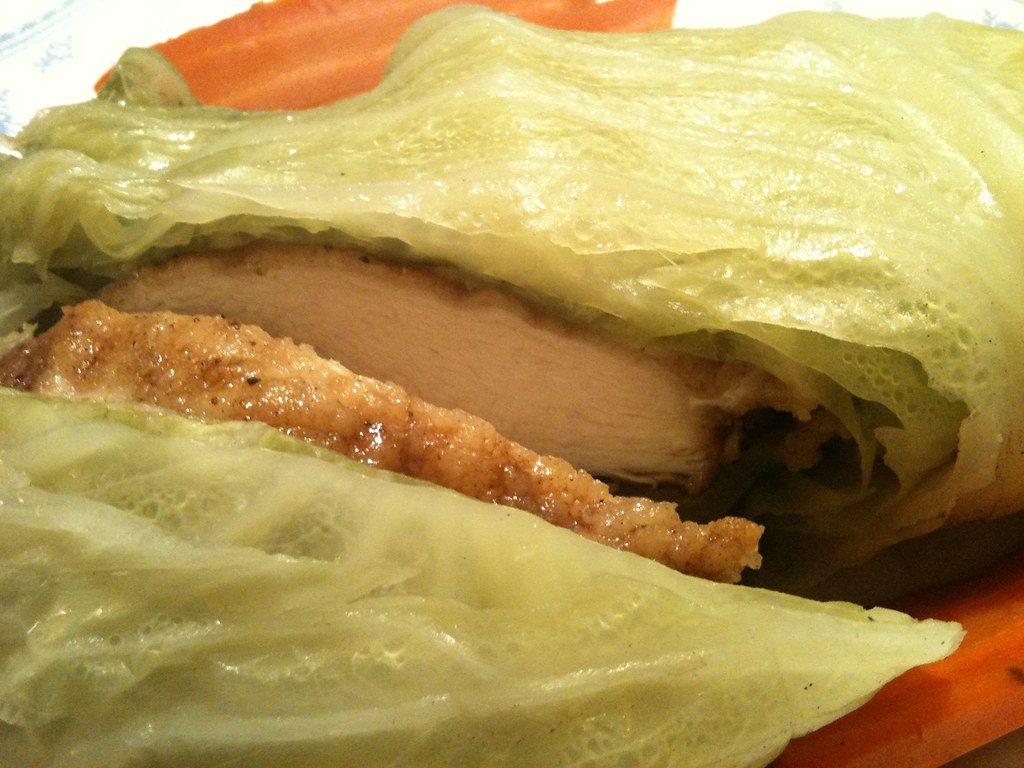 Salted, Seared Chicken Breast wrapped in Cabbage