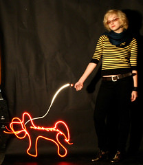 Walking a Light Dog (suren suren) Tags: longexposure light red dog lightpainting yellow blackbackground blonde flashlights nobackground stripeshirt walkingadog bronzeboots