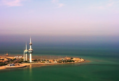 Pearl of The Gulf (| HD |) Tags: city tower 20d canon chopper gulf air towers 123 aerial east helicopter hd kuwait arabian middle darwish hamad cokin wwwhamaddarwishcom