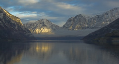 Fjord during winter (Johannes Heine) Tags: winter light sky snow mountains west water sunshine norway clouds landscape fjord flm aurland westernnorway scenicsnotjustlandscapes