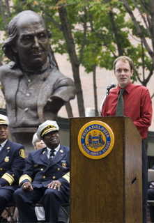 James Peniston and Fire Commissioner Lloyd Ayers