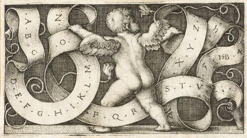 Hans Sebald Beham 1554 (Putte mit Spruchband mit Alphabet)