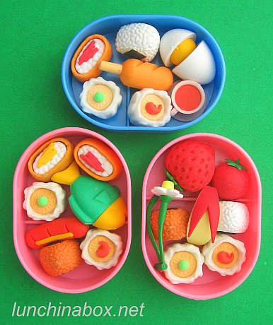 Food-shaped erasers in tiny bento boxes