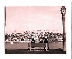 unfamiliar faces (maxxxxxxxxxx) Tags: ocean houses people blackandwhite polaroid harbor sitting newport palmtree 4x5 largeformat wealth