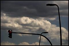 ... (Marooned) Tags: red sky clouds rojo bilbao stop cielo nubes semaforo farolas parar tempestad