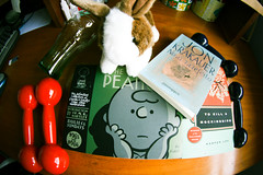Easter Eve shopping spree (autumn_bliss) Tags: easter coke books plush cocacola livros mockingbird easterbunny weights fantagraphics harperlee shoppingspree krakauer halteres handweights completepeanuts