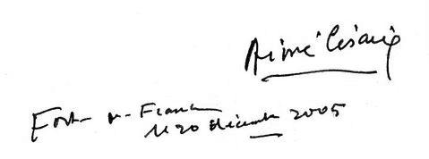 aime cesaire autograph