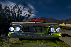 Floating Headlights (Lost America) Tags: lightpainting abandoned night fullmoon imperial junkyard chrysler 1963 highway395 nocturnes pearsonville