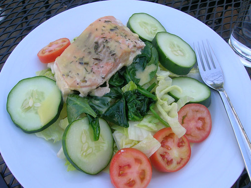 Salmon on a Bed of Sauteed Spinach and Fresh Salad