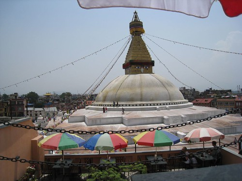Rooftop restaurant view of stupa