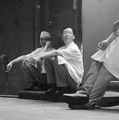 Cooks on a break (ndnbrunei) Tags: china street blackandwhite bw 120 6x6 tlr film rollei mediumformat square hongkong kodak streetphotography bn mf kodakbw400cn wanchai rolleicord bw400cn classicblackwhite rolleigallery beginnerstreetphotography ndnbrunei