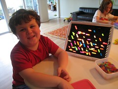 Leelo with his Lite Brite Creation