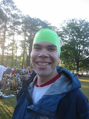 Bill Ruhsam in Swim Cap before the beginning of the Peachtree International Triathlon. Photo credit to Jennifer Bowie of Screenspace.org