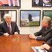 Michael Douglas sits down for a discussion with Sen. Dick Lugar (R-Ind.)