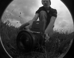 Ralph's Mamiya (Arthur Loveday) Tags: camera uk england bw white distortion fish black mamiya film field grass contrast speed self 35mm lens toy arthur al lomo lomography hand ditch angle south wide scratches warp spot fisheye 180 400 hp5 medium format ward dust cheap developed ralph ilford rb 67 degree fishy mamiyarb67 imperfections cerney loveday 180degree yeahfilm arthurloveday