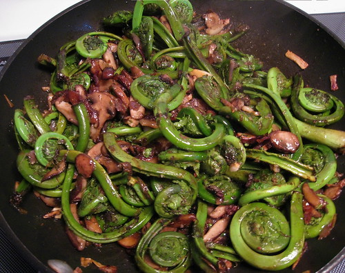 Fiddlehead greens and mushrooms