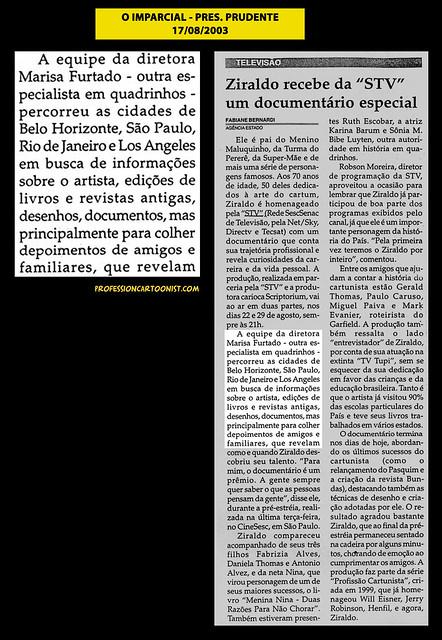 """""""Ziraldo recebe da STV um documentário especial"""" - O Imparcial - 17/08/2003"""