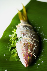 Grilled Whole Fish on Banana Leaf