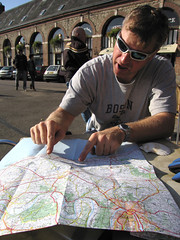 Wisdom of the Navigator (Clive Andrews) Tags: france cycling cafe andrews map saul clive normandy img8924jpg cliveandrews ©cliveandrews2007allrightsreserved canybarville