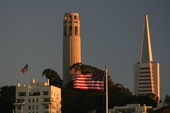 Patriotic Sunset (Cal Bear 94) Tags: sanfrancisco sunset flag coittower transamerica blueribbonwinner abigfave aplusphoto ultimateshot diamondclassphotographer flickrdiamond
