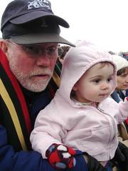 Etta and Grandpa watching football