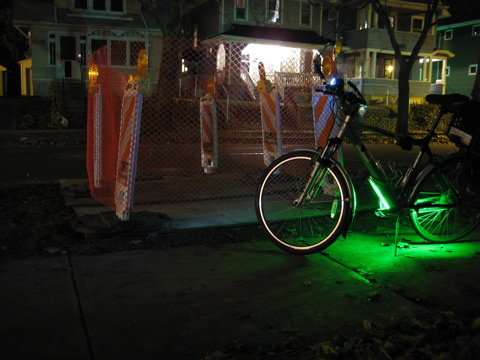 Bike next to hazard lights