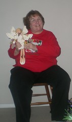 Mom and her wooden angel from Alison