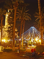 Christmas lights in Plaza de la Iglesia