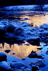 Yosemite in Winter , Frosty Evening Blue (moonjazz) Tags: california travel blue winter wild cliff usa cold reflection ice nature colors beauty creek wow river wonder gold nationalpark still twilight perfect quiet peace treasure view hiking unity dream super calm hike best adventure creation yosemite zen harmony meditation wilderness elcapitan pure chill finest senic supershot abigfave flickrlovers