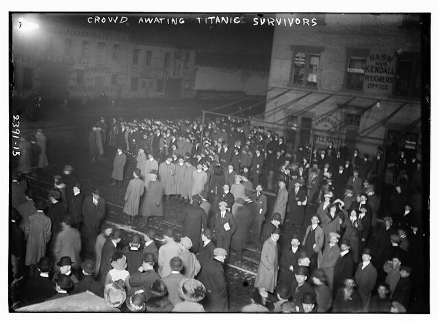 Crowd awaiting TITANIC survivors (LOC)