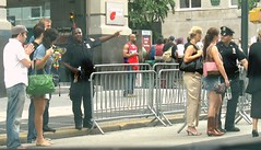 """you'll have to cross over there"" (alankin) Tags: nyc newyorkcity people newyork men women cityscape manhattan streetshots police sidewalk pedestrians inpassing fromthecar streetphotos policemen givingdirections peoplescape 75views 25june2006 niknala 1500024cu"