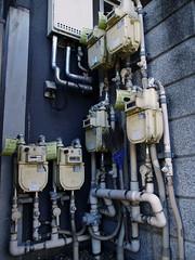 pipe arrangement 2 (umitomo) Tags: street wall pipe sash gas heater 100views meter bandage connection kagurazaka gasmeter hardwiring spaghettiwiring