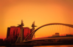 Dreamy Sunset at Salford Quays (i.rashid007) Tags: uk bridge landscape manchester foot salfordquays salford lowry instantfave lowryfootbridge theperfectphotographer