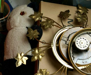 Old Teddy Bear and Broken Clock