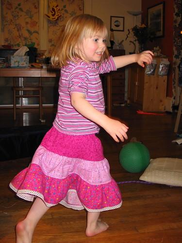Erika dancing in her new skirt