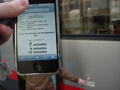 San Francisco Muni NextBus real-time information on an iPhone.