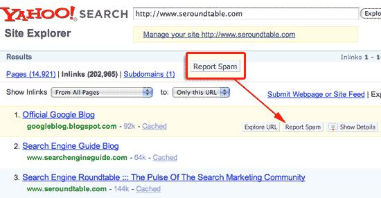 Yahoo Site Explorer Report Spam Link