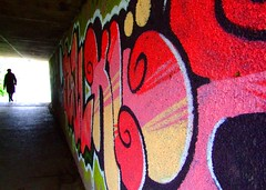 Passing through the underworld (Steve-h) Tags: bridge pink red white black green silhouette yellow river grafitti finepix fujifilm elderlywoman dodder blueribbonwinner steveh mywinners abigfave riverdodder s9600 aplusphoto underorwellroadbridge