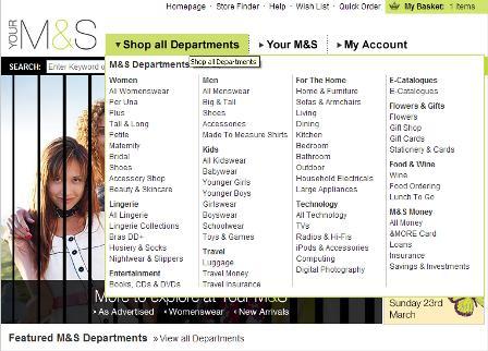 M&S drop down menu