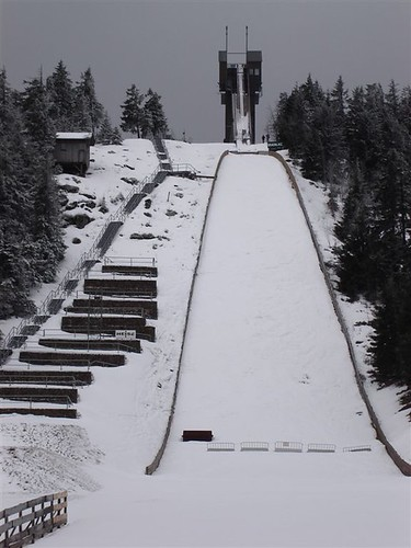 Ski Jump on a Grey Background