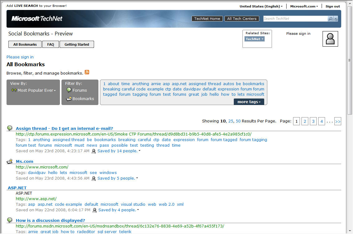 TechNet Social Bookmarks Preview