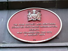 Photo of Peak District and Northern Counties Footpaths Preservation Society red plaque