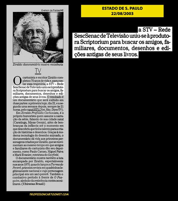 """""""TV"""" - Estado de São Paulo - 22/08/2003"""