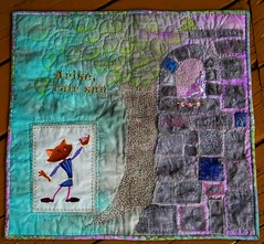 Arise Fair Sun (waggonswest) Tags: pink tree castle leaves grey aqua quilt romeo crazyquilt machineembroidery handembroider