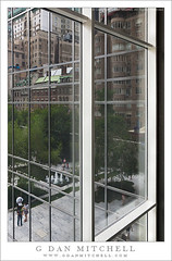 Windows, MOMA (G Dan Mitchell) Tags: street travel trees people urban usa reflection art window fountain glass metal museum modern buildings downtown walk manhattan joke side bricks stock perspective culture moma courtyard scene frame visual pun quotnew yorkquot quotnorth americaquot
