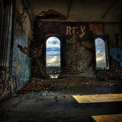 (h-e-d) Tags: windows brick abandoned industry graffiti industrial stitch decay montreal urbanexploration dust hdr crumbling urbanexploring ue urbex ptgui canadamaltingplant