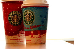 Starbucks (Emmy Gee) Tags: christmas blue red white green coffee table cups starbucks
