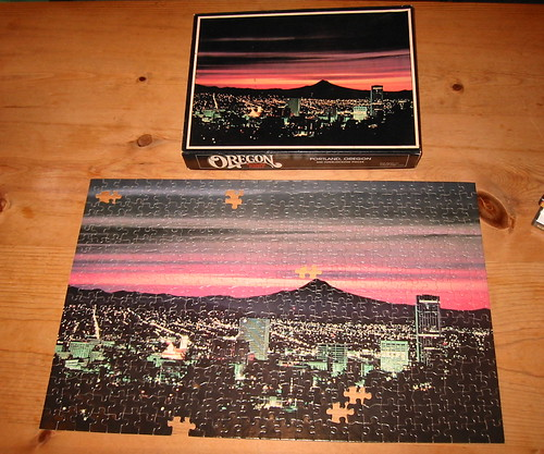 Portland skyline puzzle with six pieces missing