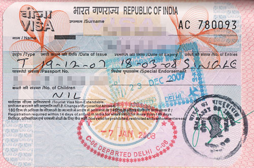 Indian visa scan