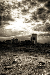 Sin City (Khaled A.K) Tags: bw skyline clouds landscape sand jeddah saudiarabia khaled sincity